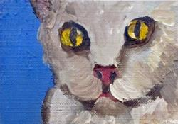 Art: Cat with Yellow Eyes Aceo by Artist Delilah Smith