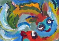Art: Koi Fish Aceo by Artist Delilah Smith
