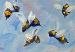 Art: Bumble Bees Aceo by Artist Delilah Smith