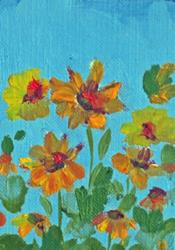 Art: Summer Flowers Aceo by Artist Delilah Smith