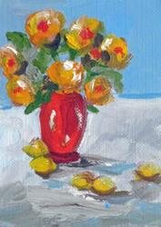 Art: Red Vase of Flowers with Lemons Aceo by Artist Delilah Smith