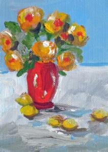 Detail Image for art Red Vase of Flowers with Lemons Aceo