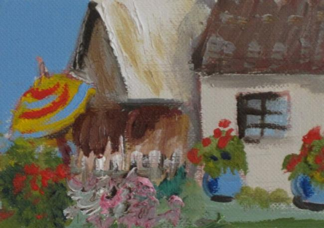 Art: Cottage with Flowers Aceo-sold by Artist Delilah Smith
