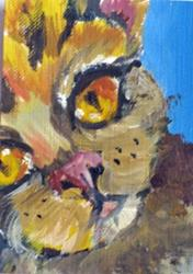 Art: Cat with the Yellow Eyes Aceo by Artist Delilah Smith