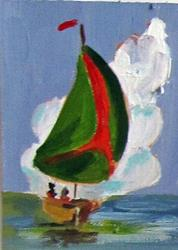 Art: Red and Green Sail Aceo-sold by Artist Delilah Smith