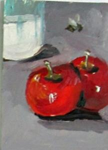 Detail Image for art Apples and Milk with Bee Aceo