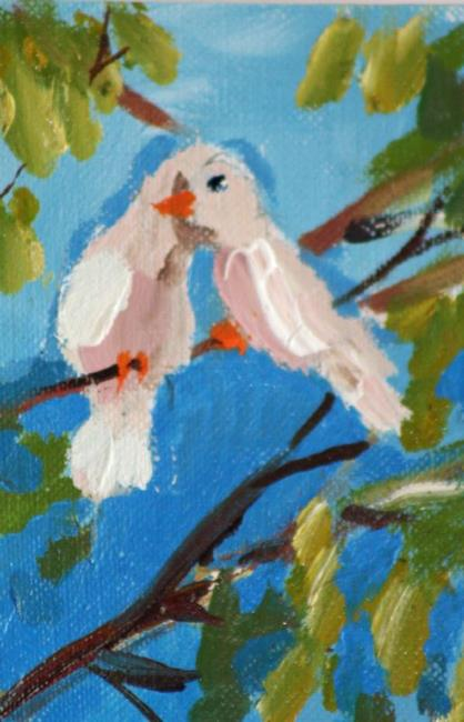 Art: Love Birds Aceo by Artist Delilah Smith