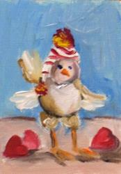 Art: Valentine Chick Aceo by Artist Delilah Smith