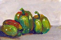 Art: Green Peppers Aceos by Artist Delilah Smith