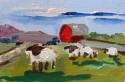 Art: Irish Sheep Aceo by Artist Delilah Smith