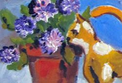Art: Cat and Flowers No.2 Aceo  by Artist Delilah Smith
