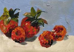 Art: Strawberries and Raspberries Aceo by Artist Delilah Smith