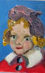 Art: Girl with the hat Aceo by Artist Delilah Smith