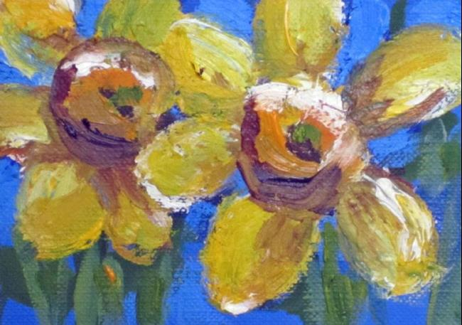 Art: Two Daffodils Aceo by Artist Delilah Smith