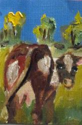 Art: Cow Looking at You by Artist Delilah Smith