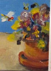 Art: Pot of Pansies Aceo by Artist Delilah Smith