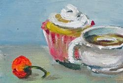 Art: Cupand Cupcake with Cherry aceo by Artist Delilah Smith