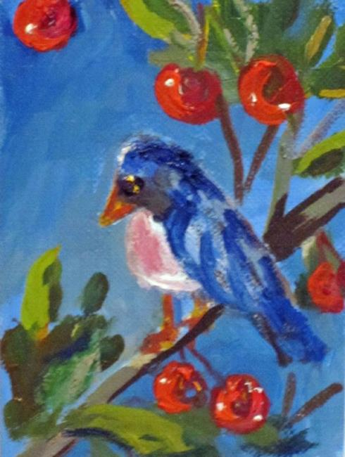 Art: Bird in a Cherry Tree Aceo by Artist Delilah Smith