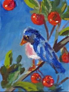 Detail Image for art Bird in a Cherry Tree Aceo