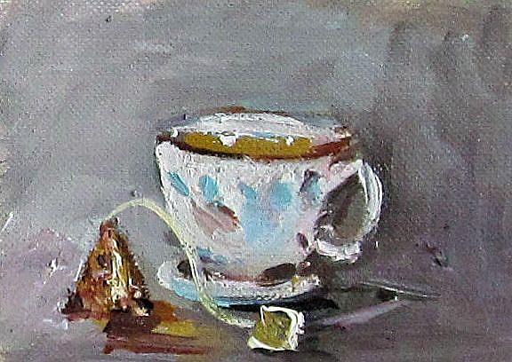 Art: Tea Aceo by Artist Delilah Smith