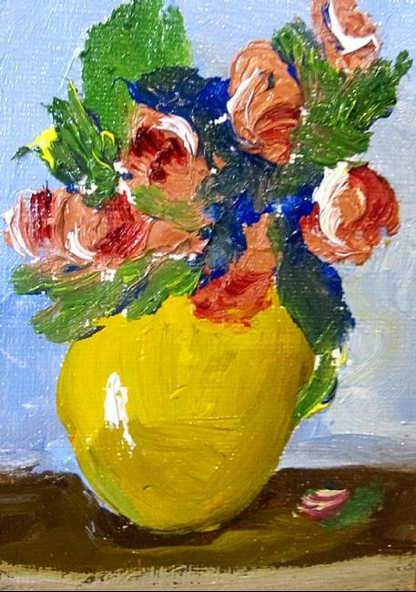 Art: Yellow Vase With Flowers Aceo by Artist Delilah Smith