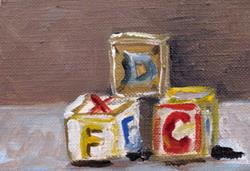 Art: Toy Block Aceo by Artist Delilah Smith