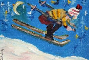 Detail Image for art Starry Night Skiier Aceo