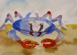 Art: Blue Crab aceo-SOLD by Artist Delilah Smith