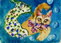 Art: Mermaid Kitty-sold by Artist Delilah Smith