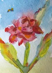 Art: Red Rose Aceo by Artist Delilah Smith