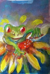 Art: Frog and Daisy-sold by Artist Delilah Smith