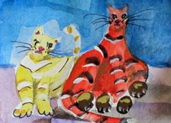 Art: Fat Cats Aceo by Artist Delilah Smith
