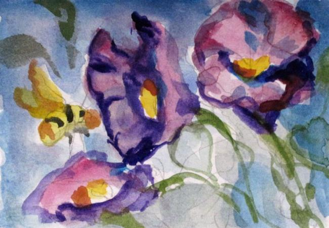 Art: Morning Glories and Bee Aceo by Artist Delilah Smith
