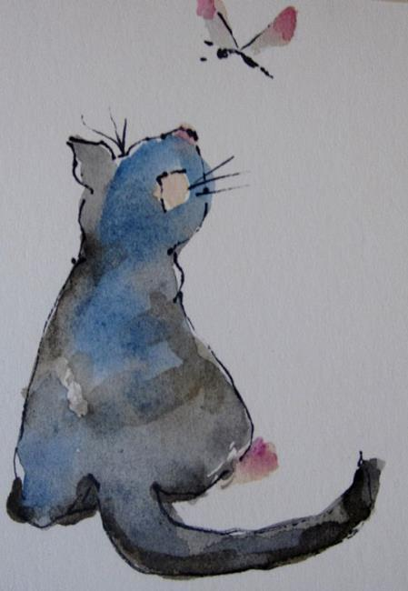 Art: Cat and Dragonfly Aceo by Artist Delilah Smith
