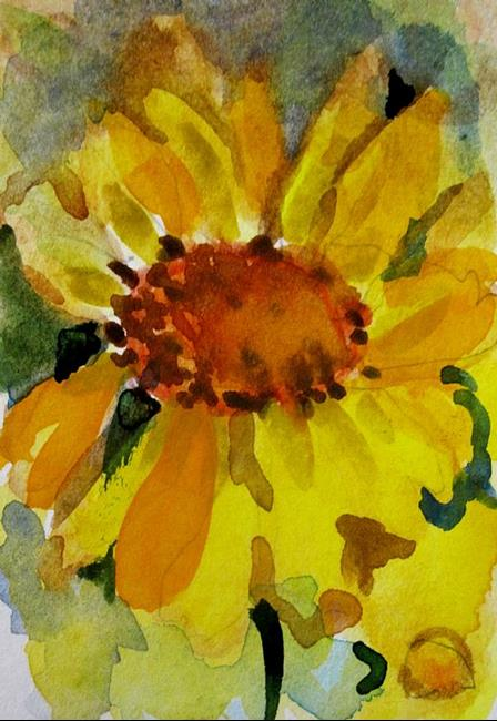 Art: Yellow Flower Aceo by Artist Delilah Smith