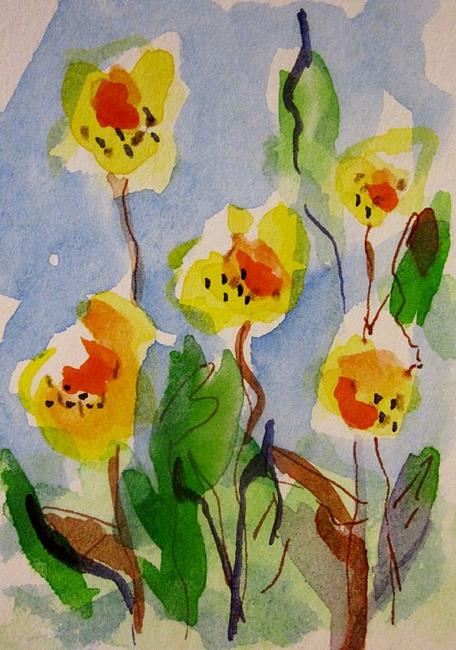 Art: Yellow Flowers Aceo by Artist Delilah Smith