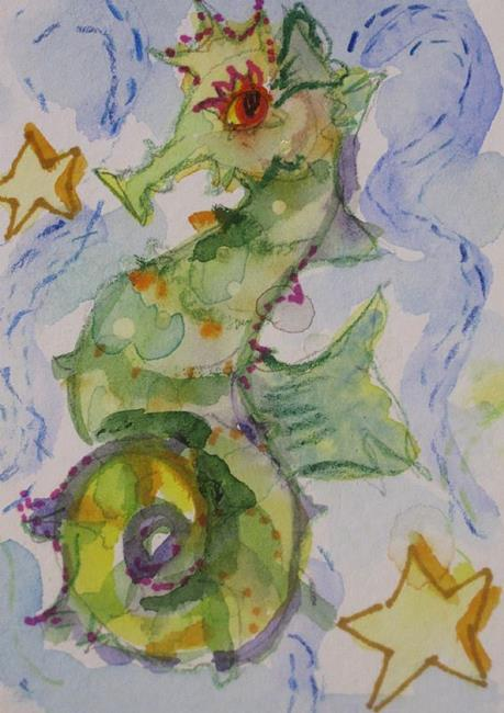 Art: Seahorse and Star Fish Aceo by Artist Delilah Smith