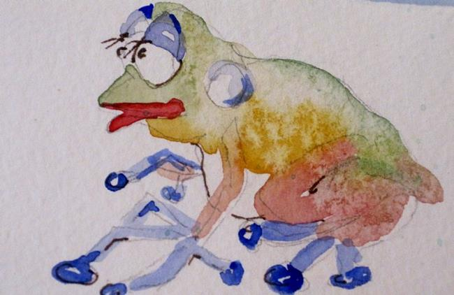 Art: Whimsical Frog Aceo by Artist Delilah Smith