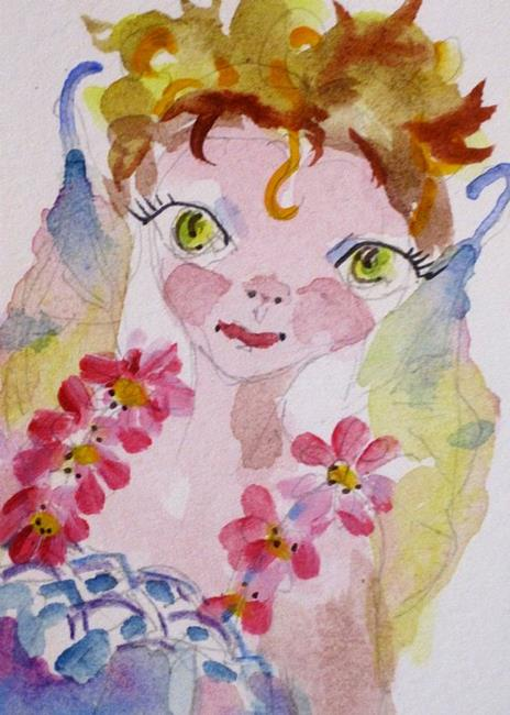 Art: Little Fairy with Pink Flowers by Artist Delilah Smith