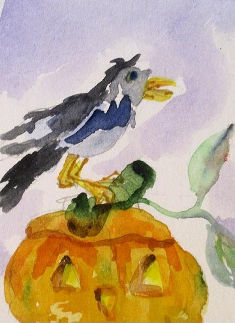Art: Pumpkin and Crow by Artist Delilah Smith