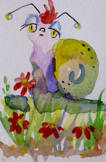 Art: Snail with Red Hair-sold by Artist Delilah Smith