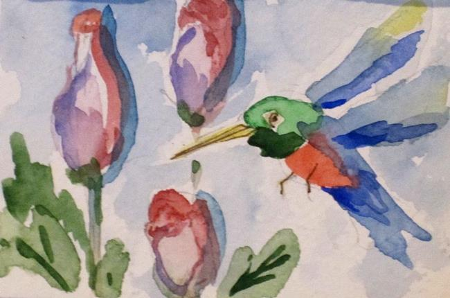 Art: Flowers and Hummingbird Aceo by Artist Delilah Smith