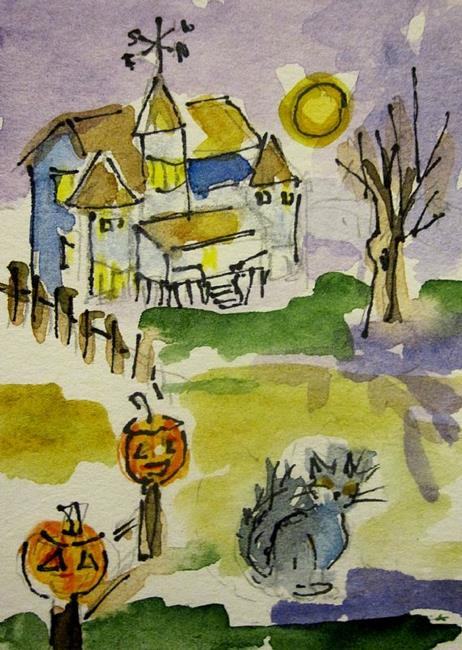 Art: Spooky Old House Aceo by Artist Delilah Smith