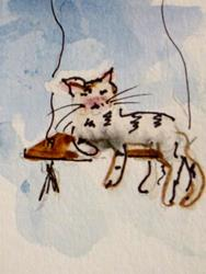 Art: Cat on a Swing by Artist Delilah Smith
