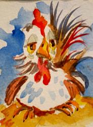 Art: Chubby Chicken Aceo by Artist Delilah Smith