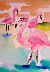 Art: Three Flamingos by Artist Delilah Smith