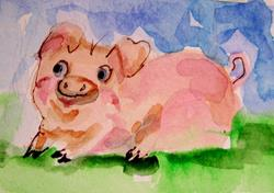 Art: Pink Pig Aceo by Artist Delilah Smith