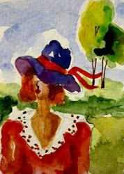 Art: Purple Hat by Artist Delilah Smith