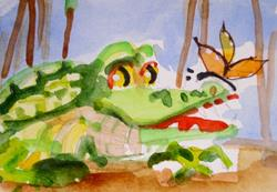 Art: Alligator and Butterfly aceo by Artist Delilah Smith