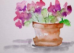 Art: Pink Flowers in Clay Pot Aceo by Artist Delilah Smith